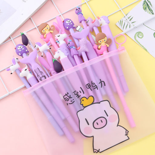 Kawaii Korean Japanese Korean Ins Pink Young Girl Heart Suit Pen Student Cute Cartoon Creative Gel Pen
