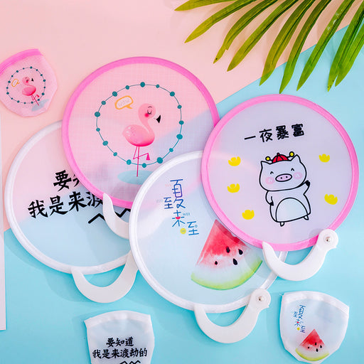Kawaii Japanese Korean Summer cartoon mini folding handle small group fan portable portable handheld cloth small round fan