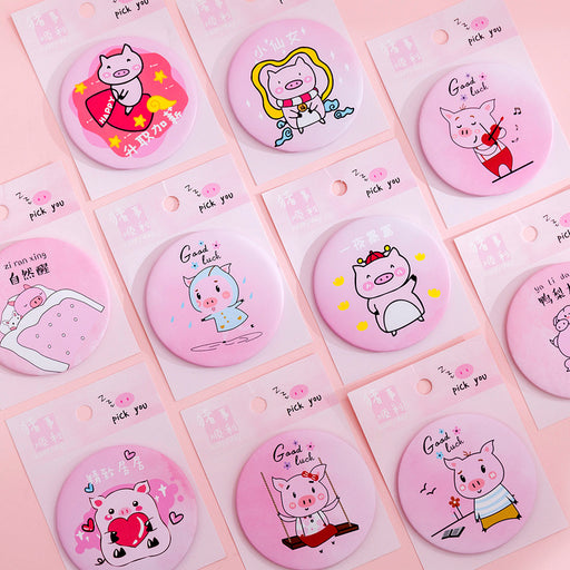 Kawaii  Japanese  Korean  ins pink girl heart pocket cartoon round portable makeup mirror
