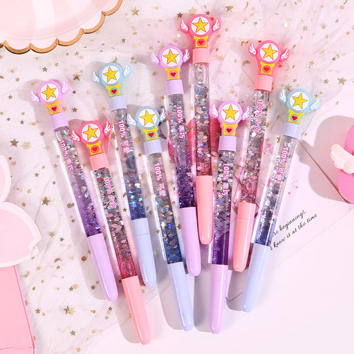 Kawaii Korean Japanese -Magic wand girl star into oil quicksand pen