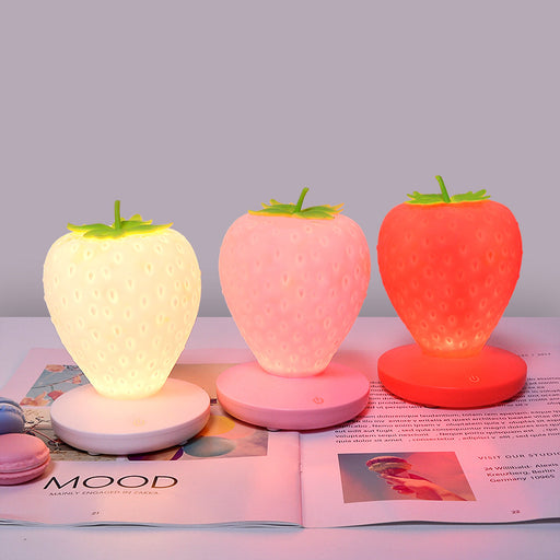 Kawaii  Japanese  Korean Strawberry cute silicone LED charging energy-saving night light