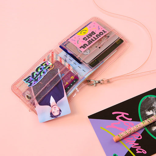 Kawaii Korean Japanese Milkjoy Transparent Double Fold Gel Bundy Hanging Neck Almostblue Ins Wind Chasing Star Girl Wallet