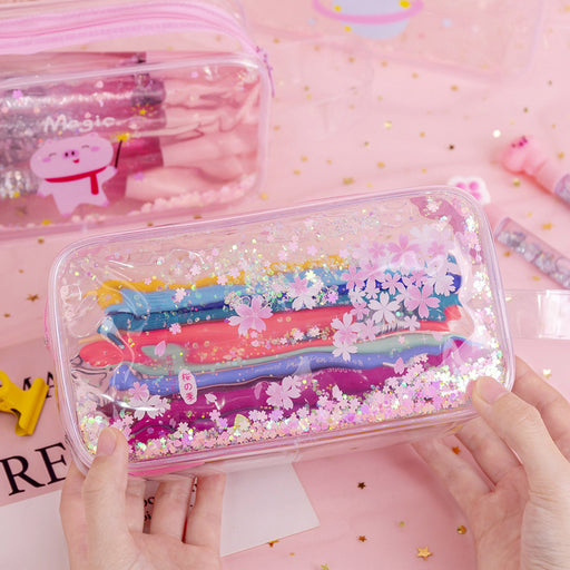 Kawaii Korean Japanese Girly Heart Cartoon Cute Sequins Quicksand Flower Sakura Pencil Case