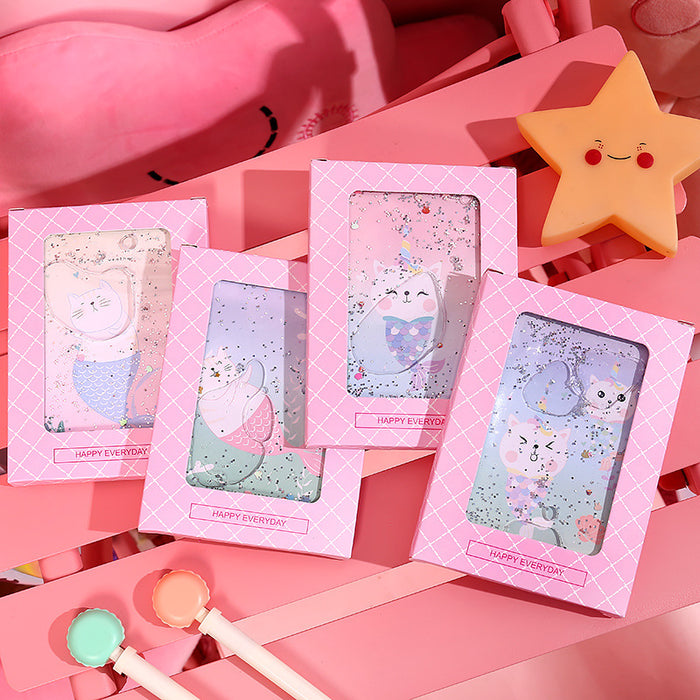 Kawaii  Japanese  Korean  Starry sky girl heart cute into oil sand notebook