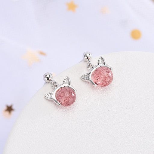 Kawaii  Japanese  Korean   S925 Moonstone crystal earrings strawberry crystal cute cat earrings earrings