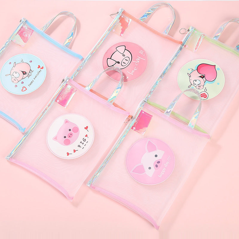 Kawaii Korean Japanese Girly Heart Portable Peppa Piggy Mesh Zipper File Bag