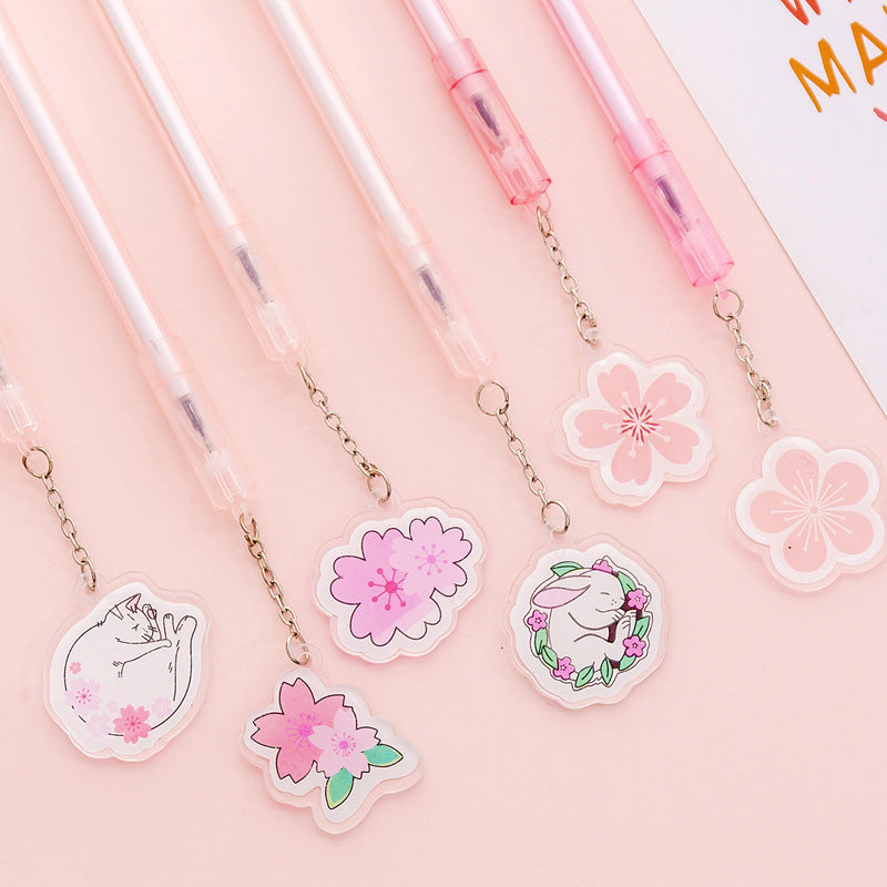 Korean cute creative cherry pendant gel pen small fresh student exam writing pendant signature pen pen