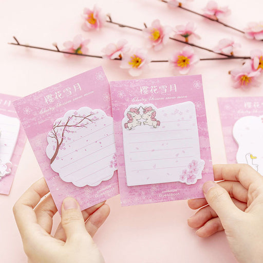 Kawaii  Japanese  Korean  Maiden Sakura Snow Moon Post-it/Message Memo