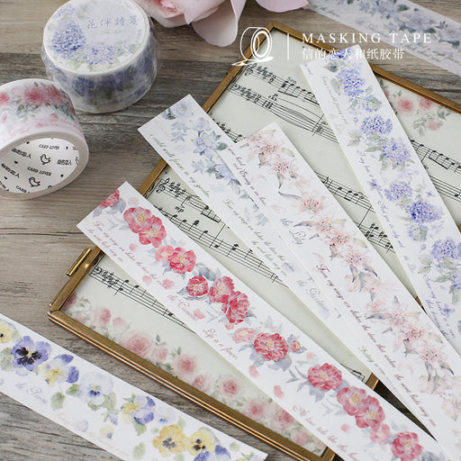Kawaii Korean Japanese Lover's Letter Flower Pink Flower Washi Tape