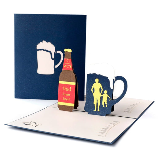 Kawaii Japanese Korean Father's Day greeting card 3D stereo beer Korean creative handmade paper sculpture