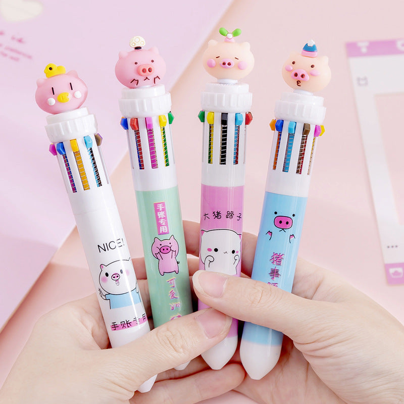 Kawaii Korean Japanese Girly Cute Piggy Rainbow Multifunctional Colorful Pushable Ball Pen
