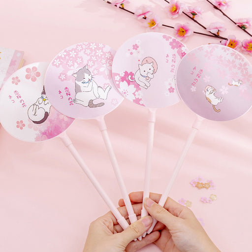 T Korea creative cartoon cherry blossom cat fan pen small fresh cute student writing gel pen child gift