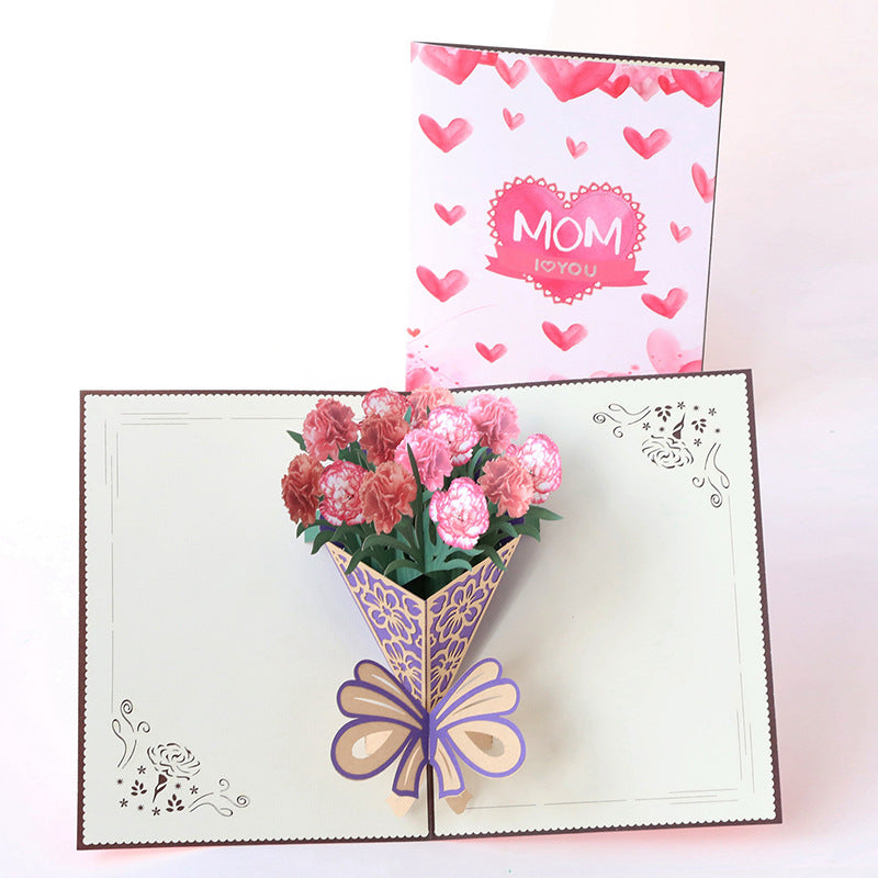 Kawaii Japanese Korean -Carnation Bouquet Handmade Gift blessing Small Card Greeting Card