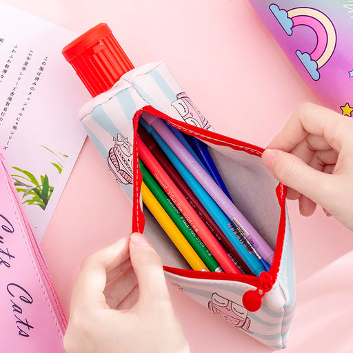 Kawaii Korean Japanese Creative Rainbow Cute Toothpaste Like  Pen Pouch Pencil Sharpener With