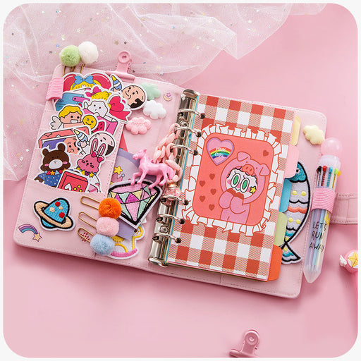 Kawaii  Japanese  Korean  Small fresh cute girl heart hand book loose-leaf diary notebook set