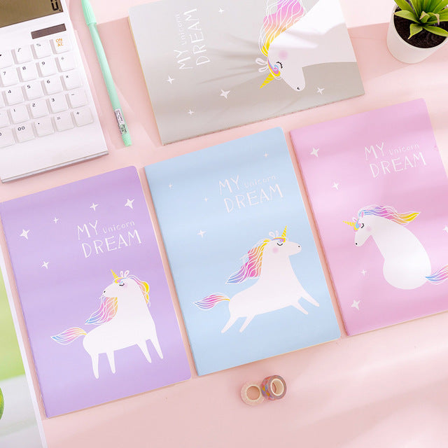 Kawaii  Japanese  Korean  A5 Fantasy Girl Unicorn Notebook Notepad Portable Diary