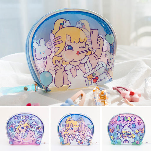 Bang bang girl jelly package small gel shell package laser girl heart makeup package transparent PVC