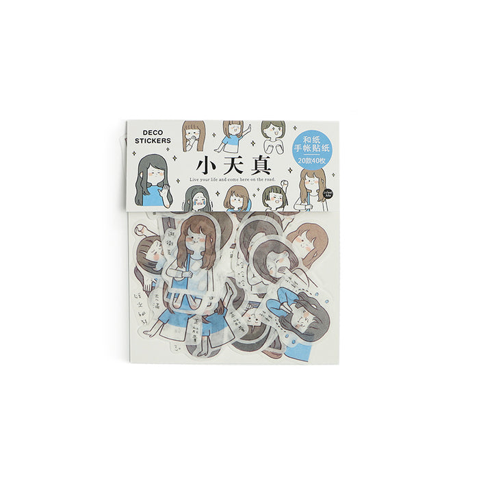 paper sticker pack I am a girl series creative cute character DIY decorative stickers