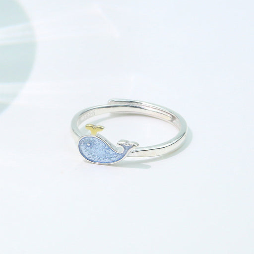 S925 Silver Little Whale Ring