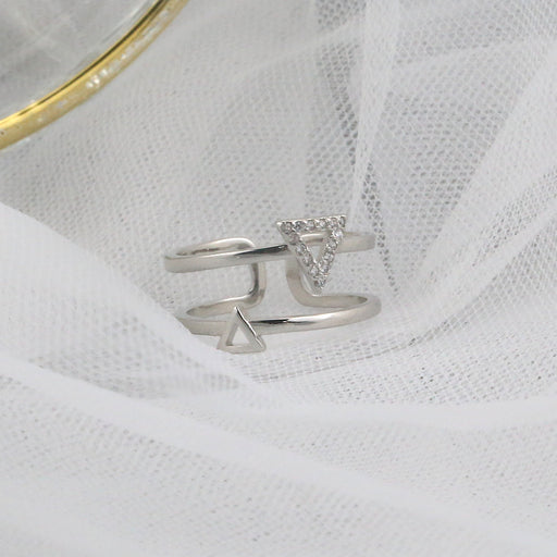 Aesthetic Japanese Korean Triangle Cutout Ring