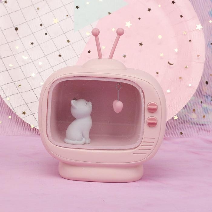 Grocery Girl Heart Neko Radio Night Cat Decoration Night Light Student Gift Home Decoration Crafts Table Lamp ~ Table Ornaments