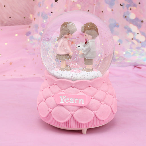 Music Box Water Polo Automatic Snow Crystal Ball Birthday Gift Love Affair Love Rotation Table Lamp ~ Table Ornaments
