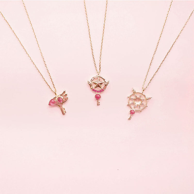 Kawaii  Japanese  Korean S925 Silver anime magical girl Sakura birds head ornaments star seal scepter necklace