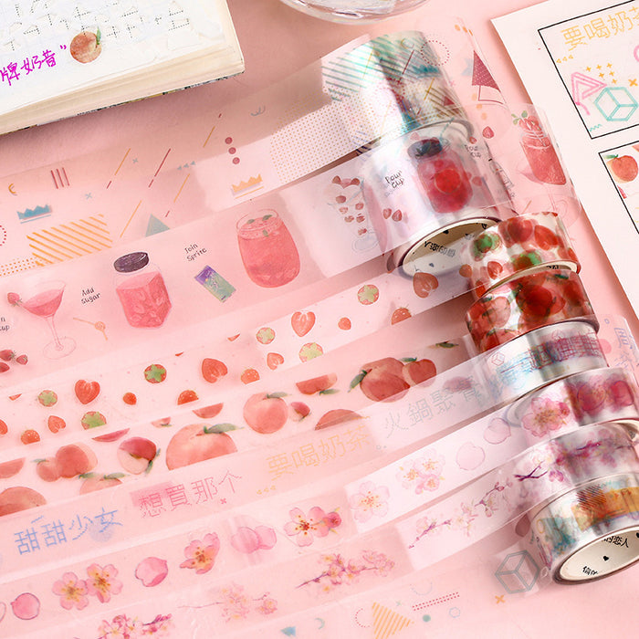 Kawaii Korean Japanese Girly Strawberry Plannet  Washi Tape Set