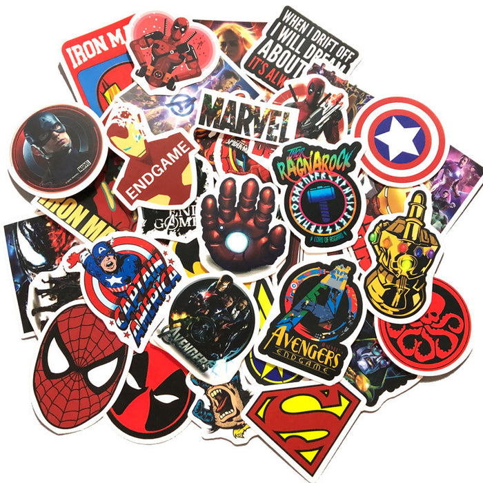 sheets of non-repeating Marvel superhero movie stickers skateboard suitcase notebook waterproof graffiti stickers
