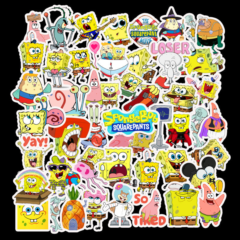 cartoon sponge baby stickers waterproof suitcase stickers personality notebook stickers cartoon animal stickers
