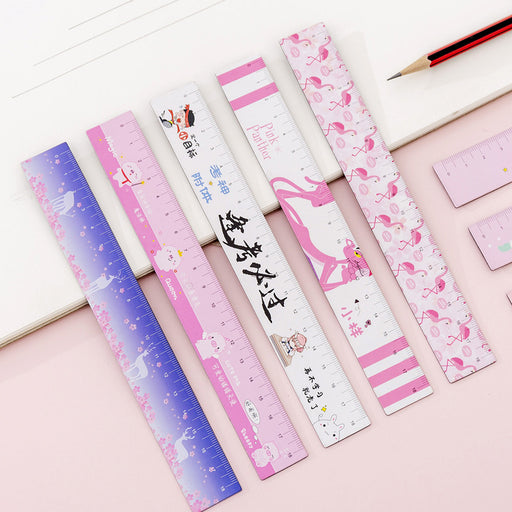 Kawaii  Japanese  Korean  Cartoon Girl Heart Soft Ruler Small Fresh And Flexible Magnetic Measuring Ruler 18cm