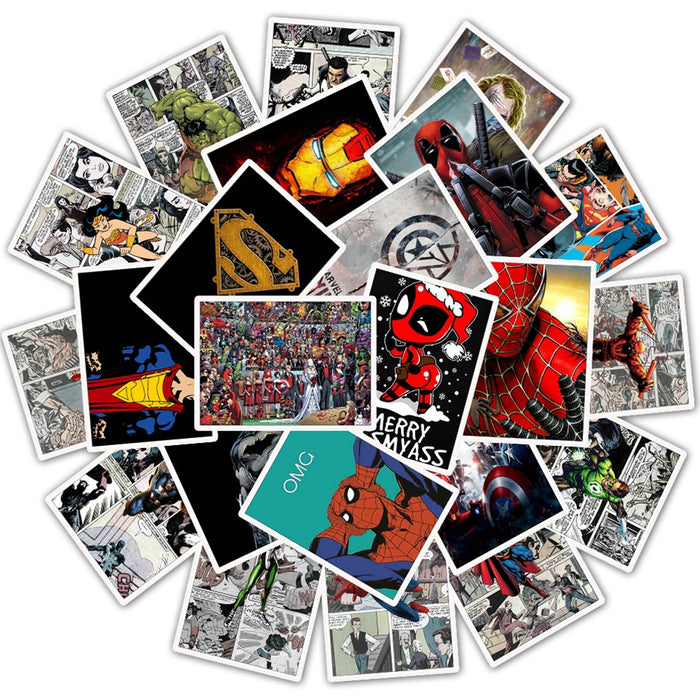 Marvel Retro Newspaper Stickers Superhero Explosion Style Motorcycle Electric Car Suitcase Sticker Waterproof