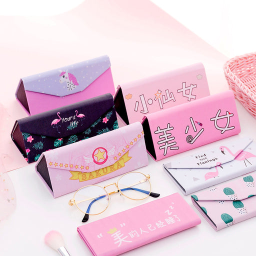 Kawaii  Japanese  Korean  Pink Girl Heart Folding Triangle Glasses Case