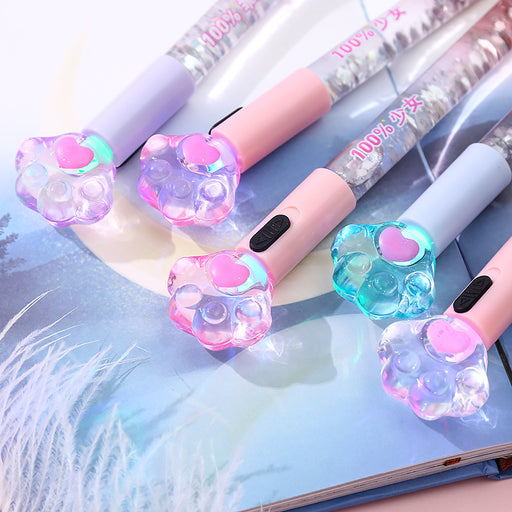Kawaii Korean Japanese -Cat claw glowing neutral girl heart quicksand light pen