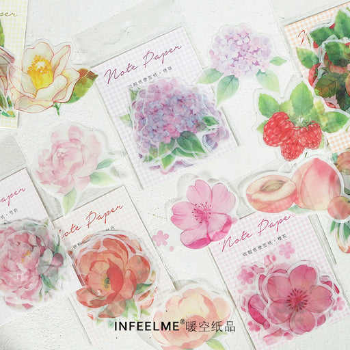 Kawaii Korean Japanese Infeel.Me Sulfuric Acid Note Paper Flower And Fruit Series Memo Sticky Note