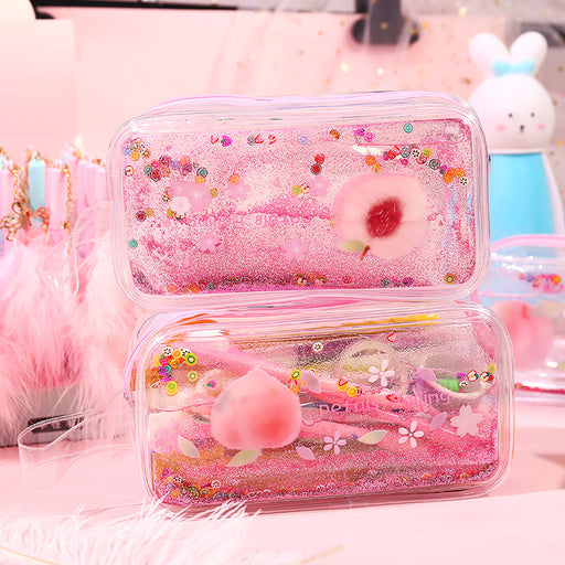 Kawaii Korean Japanese Peach transparent quicksand pencil case pen case