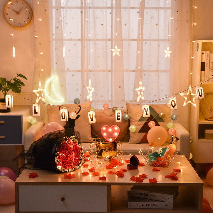 Kawaii Japanese Korean  Birthday Lantern/Girl Heart Romantic LED Light/Letter LED lights