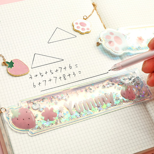 Kawai Japanese Korean Cute girl oil quicksand ruler scale pendant bookmark