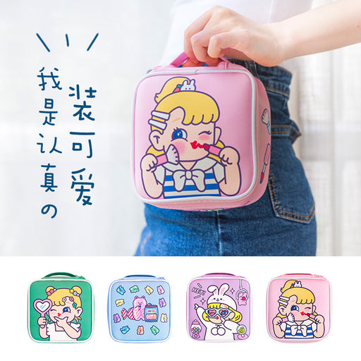 Bang bang girl makeup bag square cartoon large capacity girl pericardium large capacity portable hand