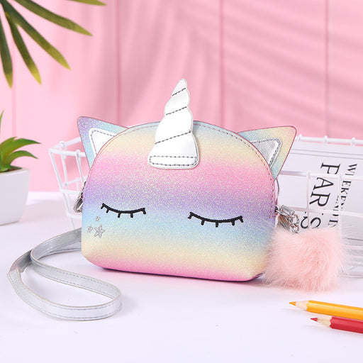 Kawaii  Japanese  Korean  Unicorn rainbow shoulder messenger bright pink rainbow bag