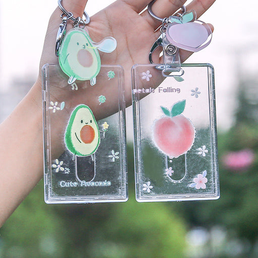 Kawaii  Japanese  Korean Pink ID card sleeve transparent access control card meal card bus card lanyard card sleeve
