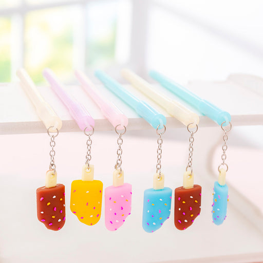 Kawaii  Japanese  Korean Girl heart ice cream pendant small fresh exam sign gel pen pendant pen