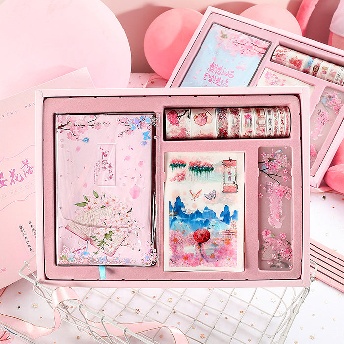 Kawaii  Japanese  Korean  Girl Heart Cherry Blossom Hand Notebook Gift Box Set