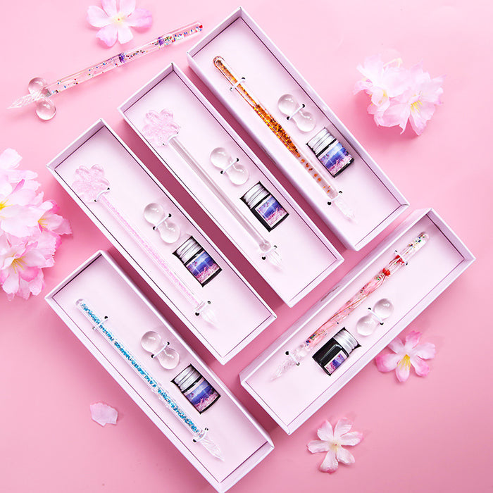 Kawaii Korean Japanese -Starry sky glass pen transparent cherry blossom diamond quicksand into oil crystal dip pen glass dip pen(Without ink)
