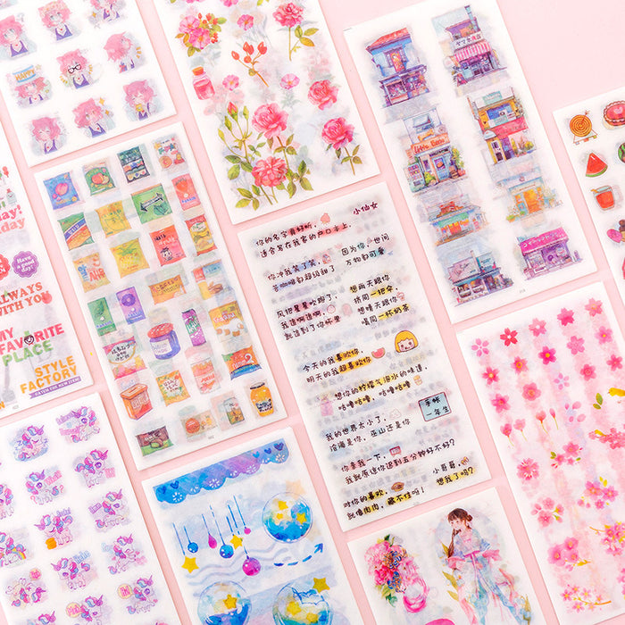 Kawaii  Japanese  Korean  -Small fresh cartoon hand account material sticker creative diy decoration sticker stickers 6 sheets