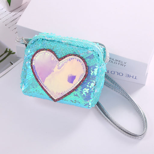 Mermaid sequins cute cartoon girl shoulder bag love sequins small square bag laser Symphony shoulder crossbody