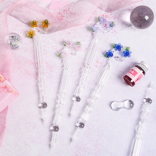 Kawaii  Japanese  Korean  Magic Flower Glass Pen Crystal Dip Pen