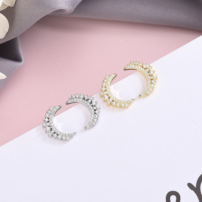Kawaii  Japanese  Korean S925 sterling silver personality full diamond crescent moon earrings