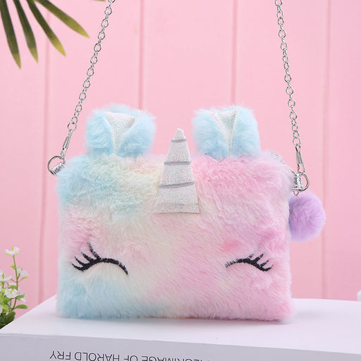Kawaii  Japanese  Korean Cute cartoon unicorn plush backpack shoulder messenger bag