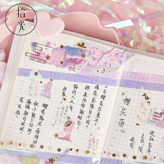 Kawaii Korean Japanese Girly Silk  Sakura Flower Washi Tape Set